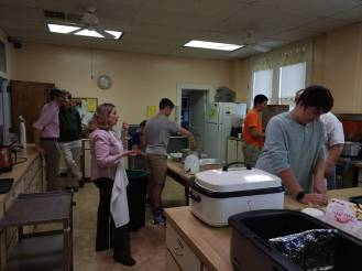Youth preparing Palm Sunday Brunch.